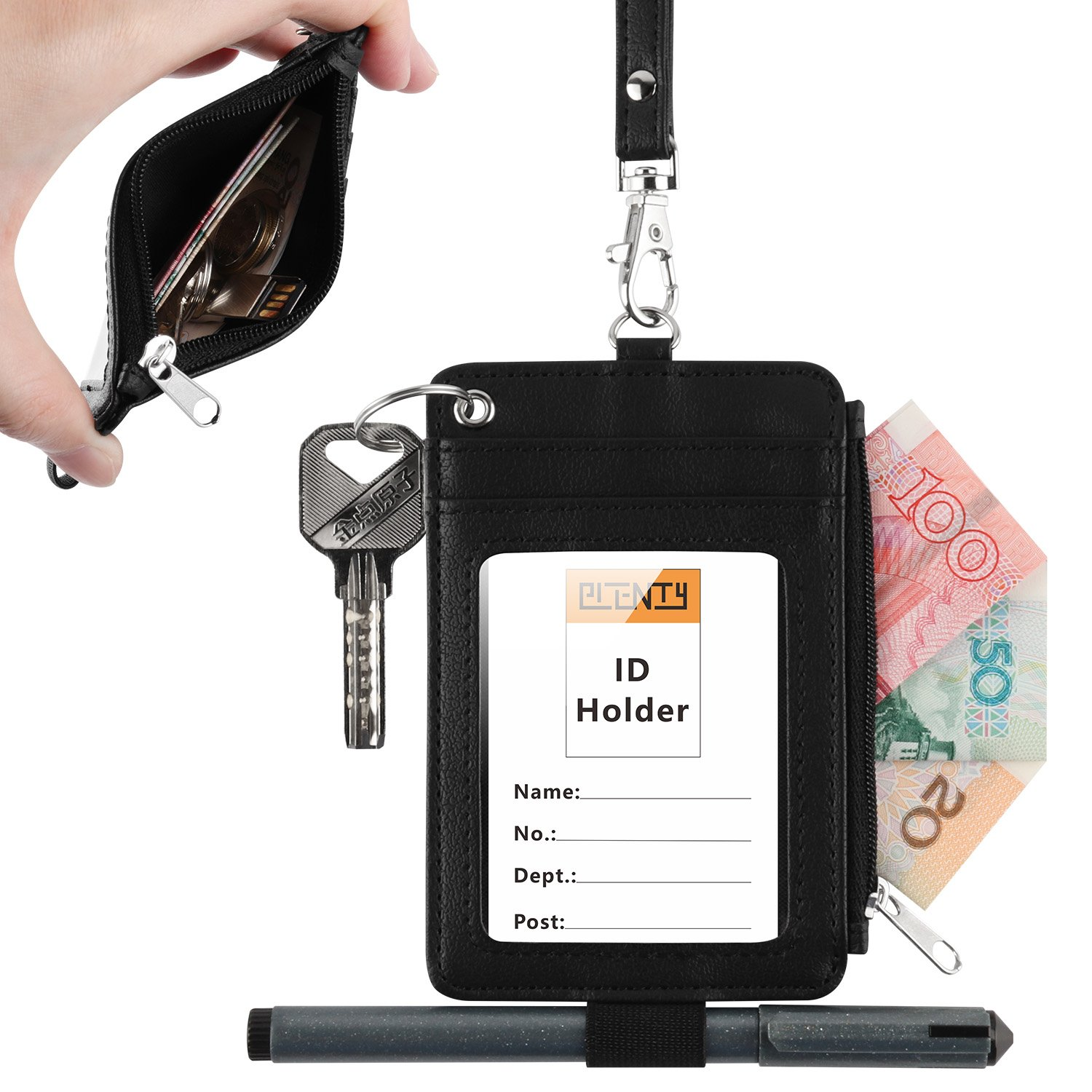 Leather Badge Holder, Plenty Heavy Duty ID Badge Wallet with Pen Loop Key Ring,5 Card Slots, 1 Side Zipper Pocket and Neck Lanyard Strap for Offices School ID, Driver Licence (Black)