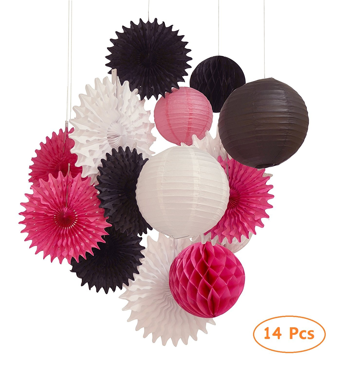 14pcs paper lantern honeycomb ball pom pom for wedding birthday party decoration paper jazz