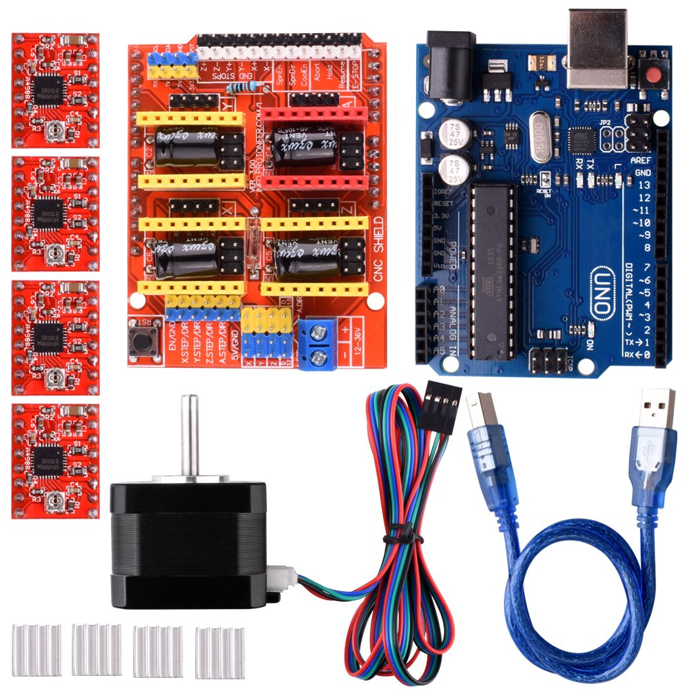 Quimat Arduino CNC Shield Contoller Kits for 3D Printer,CNC Shield V3.0 + UNO R3 Board + Nema 17 Stepper Motor + A4988 Stepper Motor Driver + Heat Sinks,Perfectly Compatible with GRBL