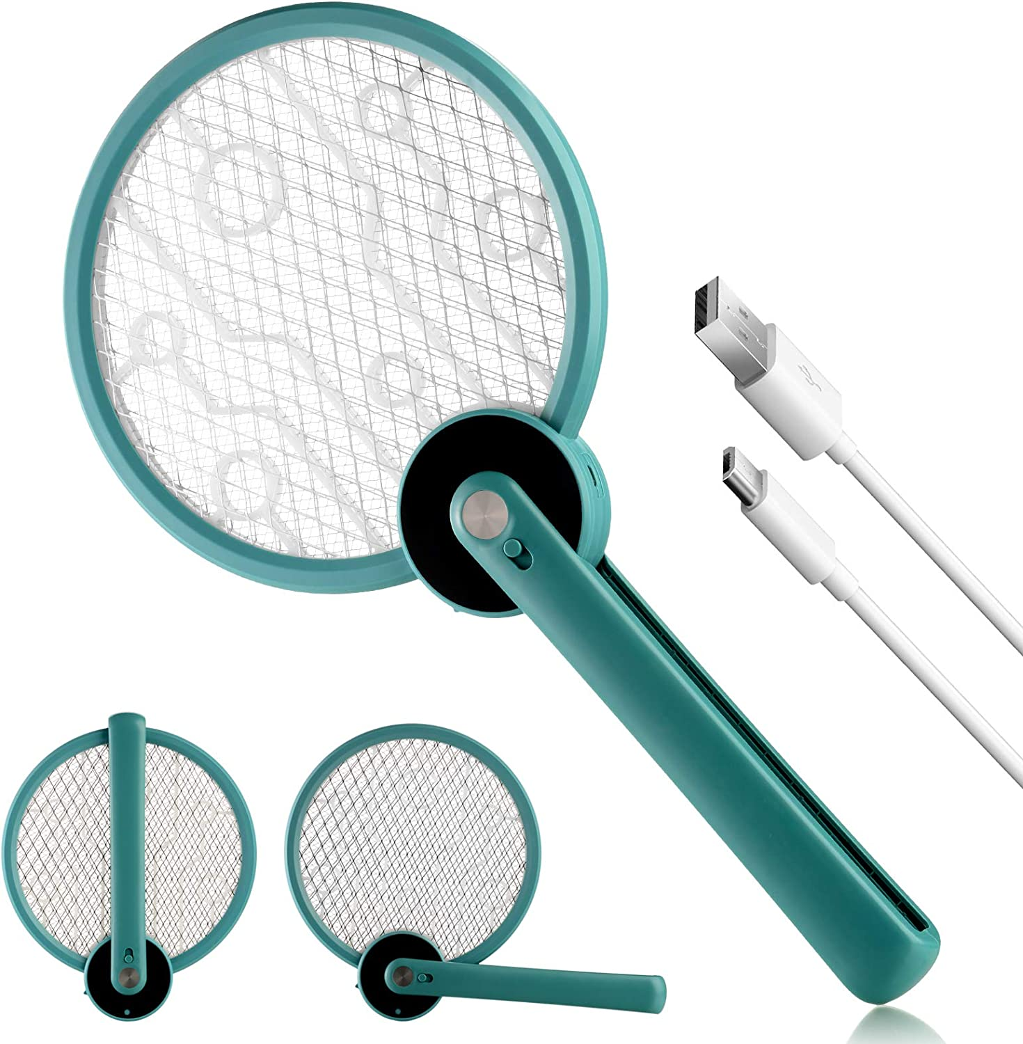Bug Zapper, 2 in 1 Foldable Electric Fly Swatter & Bug Zapper Racket, Fly Killer & Mosquito Killer for Travel, Camping, Indoor and Outdoor Pest Control, USB Rechargeable, 3 Layers Safety Mesh