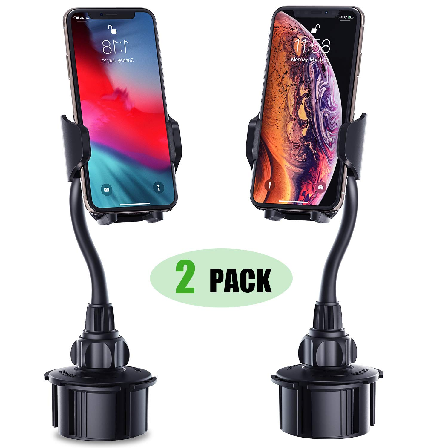Cell Phone Holder for Car, [2 Pack] Adjustable Gooseneck Car Phone Mount Universal Cup Phone Holder Compatible with iPhone Xs XR X 8 8+ 7 7+ SE 6s 6+ 6,Galaxy S10 S9 S8 S7 S6 S5 S4 Note 10 9 8 LG etc by Kinhan