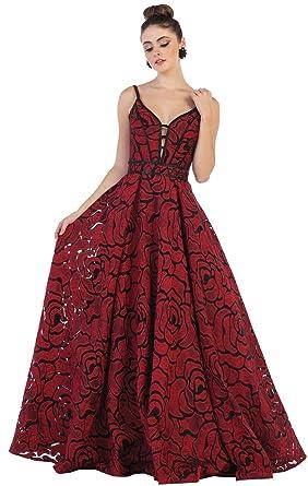 Formal Dress Shops Inc FDS7639 Formal Red Carpet Evening Designer Gown (Burgundy, 8)