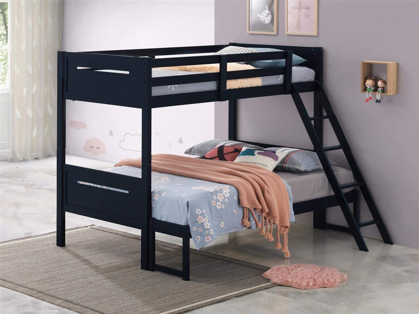 Coaster Home Furnishings Armand Solid Wood Twin Over Full Bunk Bed, Navy Blue