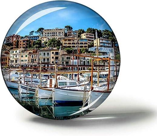 Hqiyaols Souvenir España Mallorca Soller Port Imanes Nevera Refrigerador Imán Recuerdo Coleccionables Viaje Regalo Circulo Cristal 1.9 Inches: Amazon.es: Hogar