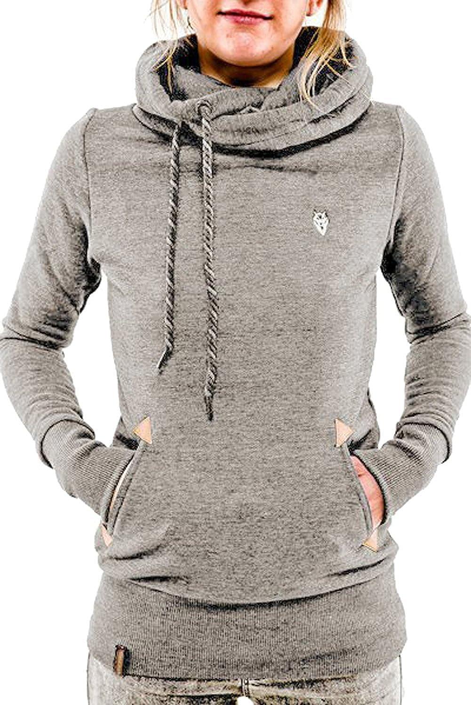 Landove Felpe Sportive con Cappuccio Donna Inverno Felpa Collo Alto Pullover Manica Lunga Autunno Elegante Casual Sweatshirt Maglie Blusa Top Tumblr Ragazza