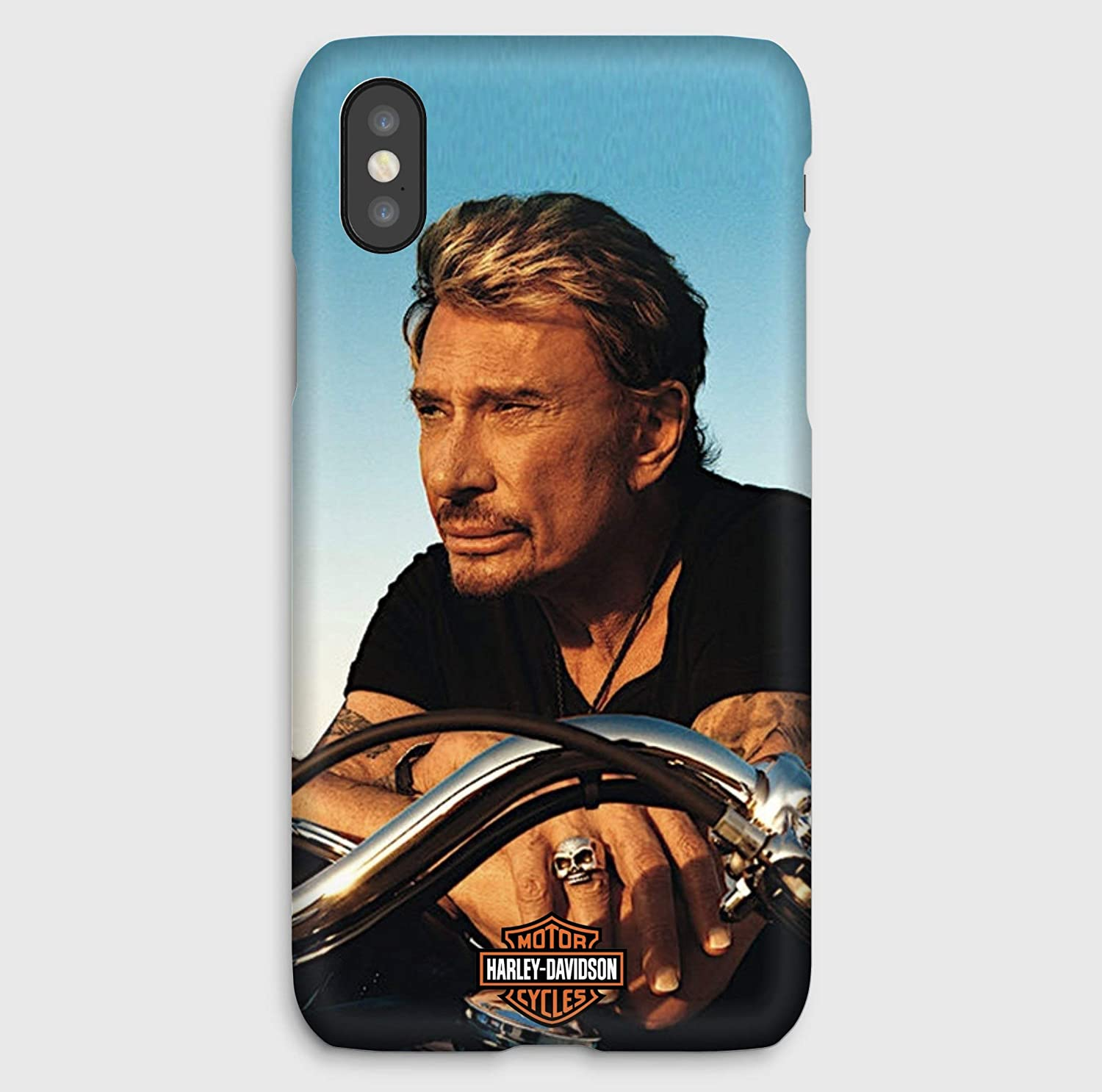 Johnny Hallyday en Harley, coque pour iPhone XS, XS Max, XR, X, 8, 8+, 7, 7+, 6S, 6, 6S+, 6+, 5C, 5, 5S, 5SE, 4S, 4,