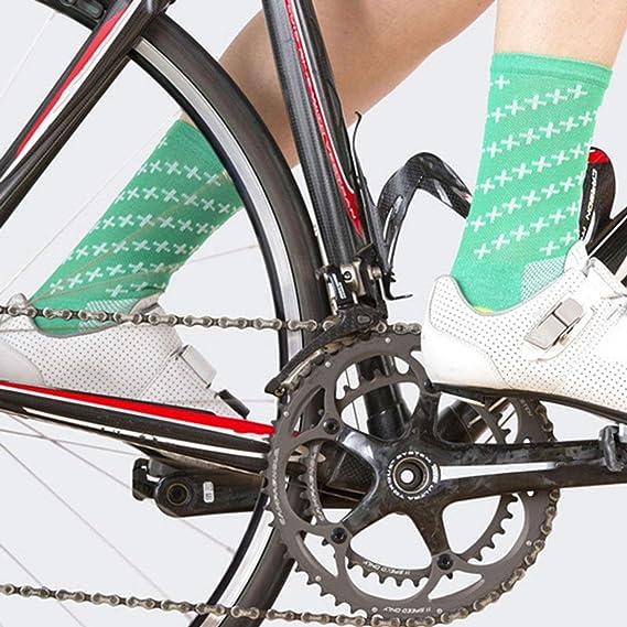 Respirant Chaussettes De V/élo Hommes Femmes Route V/élo Chaussettes Confortable en Plein Air Marque V/élo De Course Compression Chaussettes Vert dherbe