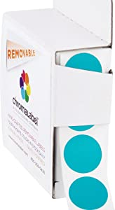 ChromaLabel 3/4 Inch Round Removable Color-Code Dot Stickers, 1000 per Dispenser Box, Teal