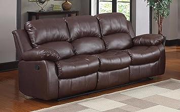 Classic 3 Seat Bonded Genuine Leather Recliner Sofa, Sleeper, Comfortable,  Loveseat, Dual