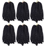 6 Pack Roktress Spring Twist Crochet Braiding Hair 8 Inch Bomb Twist Crochet Braids Ombre Colors Low Temperature…