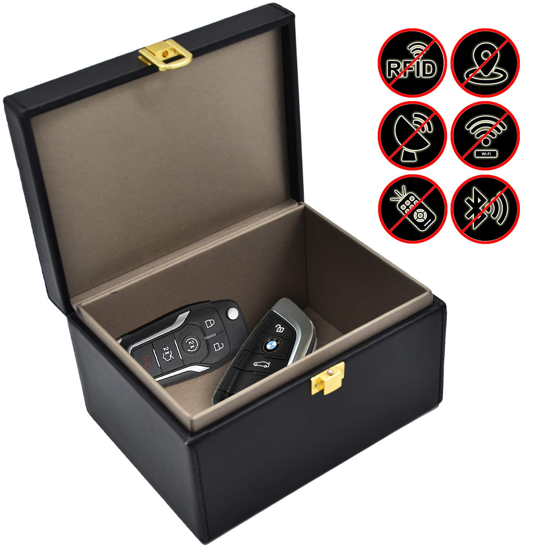 Faraday Key Fob Protector Box, RFID Signal Blocking Box, Faraday Bag Signal Blocking Bag Shielding Pouch Wallet Case for Car Key by briidea
