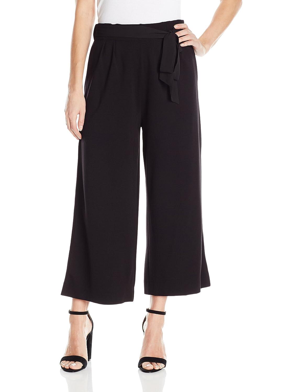 Black Joan Vass Womens Culottes with Tie Belt Pants