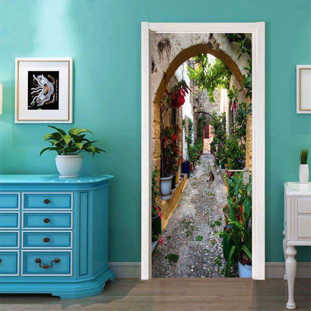 Zhiyu & art decor 3D Door Wall Mural Wallpaper Stickers Vinyl Door Stickers Wall Murals Decals Removable Door Decals for Home Room Decoration (#3)