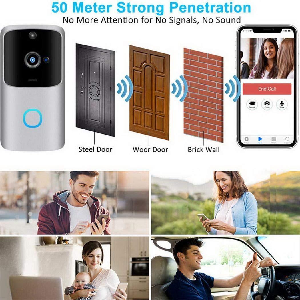 Dadiku Timbres de Video WiFi inal/ámbricos electr/ónicos Inteligentes e Inteligentes Timbres para Puerta