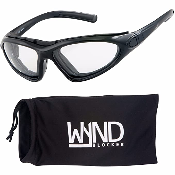 f1b646a00b8 WYND Blocker Vert Motorcycle   Outdoor Sports Wrap Around Sunglasses  (Black Clear Lens)
