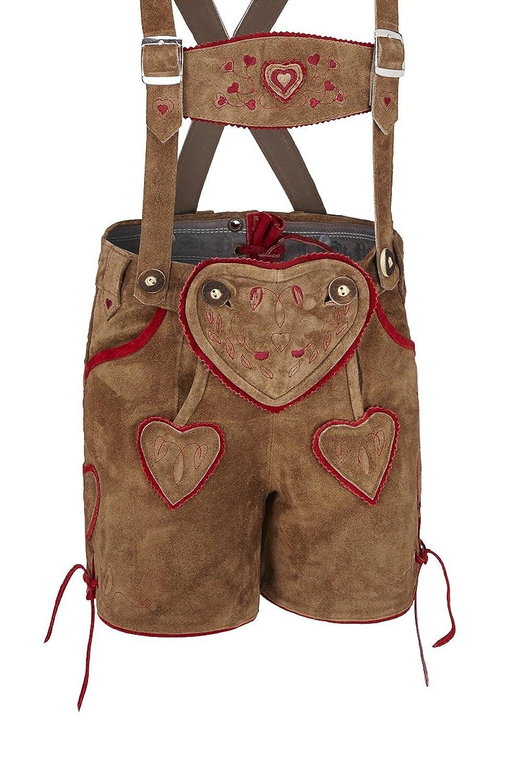 Stützle Jungen Kinderlederhose kurz hellbraun-rot mit Herzen Kilian 140894