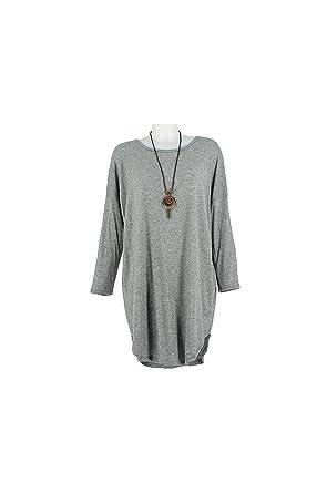 3b62dfe5fd Lonalopa Robe Pull Femme Gris Col Rond Grande Taille Olga - 50 ...