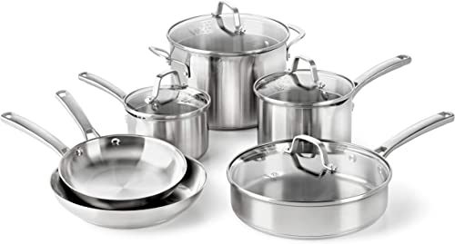 Calphalon-Classic-Pots-And-Pans-Set,-10-Piece-Cookware-Set,-Stainless-Steel