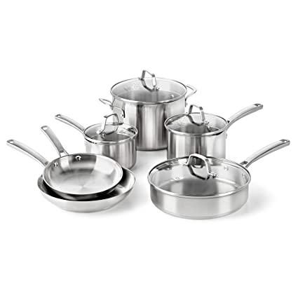 Amazon Com Calphalon Classic Pots And Pans Set 10 Piece Cookware Set Stainless Steel Kitchen Dining