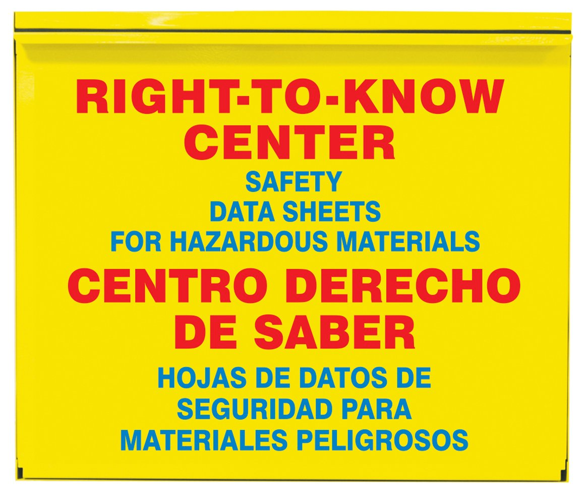 Accuform SBZRS384 Right-to-Know Center, 0.035'' Thick Steel Cabinet with (2) 2-1/2'' SDS 3-Ring Binder, (1) Haz-Com/Haz-Mat Poster Included, 22.5'' x 26.5'' x 5'', Red/Blue on Yellow