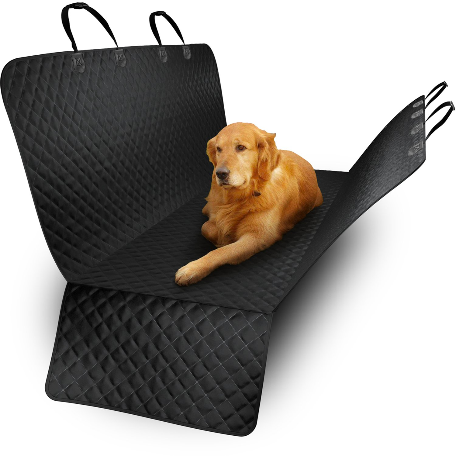 Pet Back or Front Seat Cover - Dog, Cat Protector for Car, SUV, Truck Dog, Hammock Convertible - Durable, Quilted, Non-Slip Material - Bench Cover with Extra Side Flaps (Back)