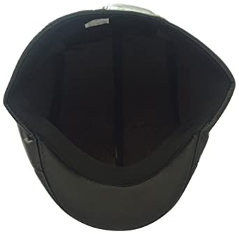 450a9420a1d Graceway Men s Leather Flat Cap (Black)  Amazon.in  Clothing   Accessories