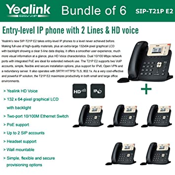 amazon yealink sip t21p e2 bundle of 6 entry level ip phone 2