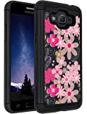 Galaxy J2 Prime Case,Galaxy Grand Prime Plus Case,ANLI(TM)[Shock Absorption] Hybrid Dual Layer Armor Protective Case Cover for Samsung Galaxy J2 Prime/Galaxy Grand Prime Plus Flowers Black