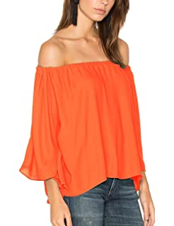 b8df5aae210f ALLY-MAGIC Women s Chiffon Off Shoulder Tops Short Sleeves Shirts Casual  Strapless Blouses