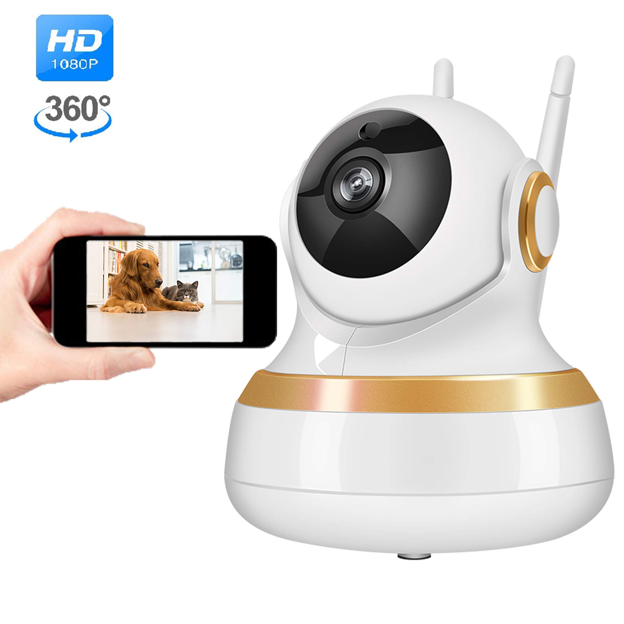 Vinsion HD 1080p Pet Camera,Dog Camera Pet Monitor Indoor Cat Camera HD Night Vision Two Way Audio and Motion Detection (Golden Rim)