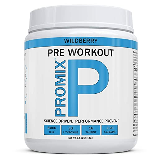 Pre Workout Powder Supplement Natural Energy Focus Keto PROMIX Performance I Men & Women Beta Alanine Taurine Tyrosine Vitamin B12 Weight Fat Loss Blast No Crash Tested Gluten Soy Free Wild Berry best pre-workout supplemement