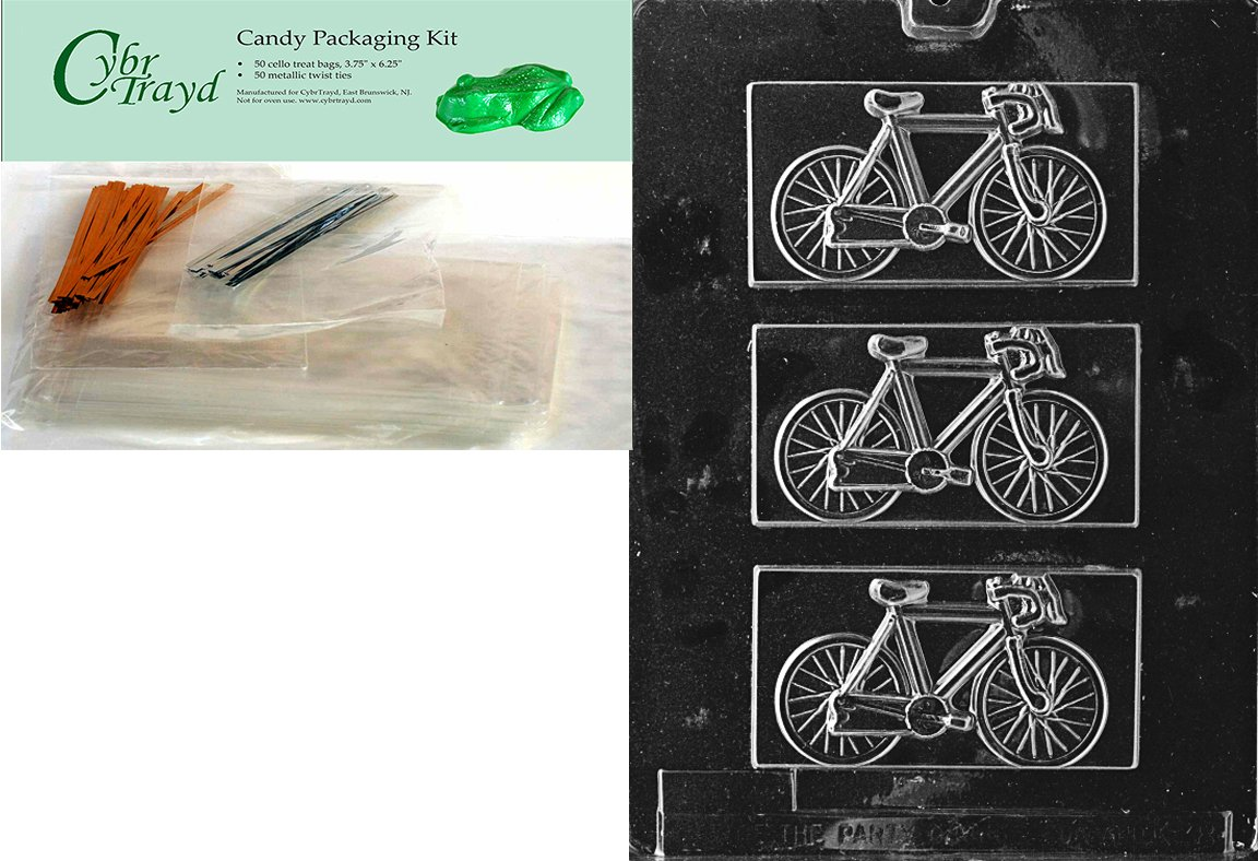 Cybrtrayd Mdk50-K038 Bicycle Kids Chocolate Candy Mold with Packaging Bundle, Includes 50 Cello Bags, 25 Gold and 25 Silver Twist Ties and Chocolate Molding Instructions