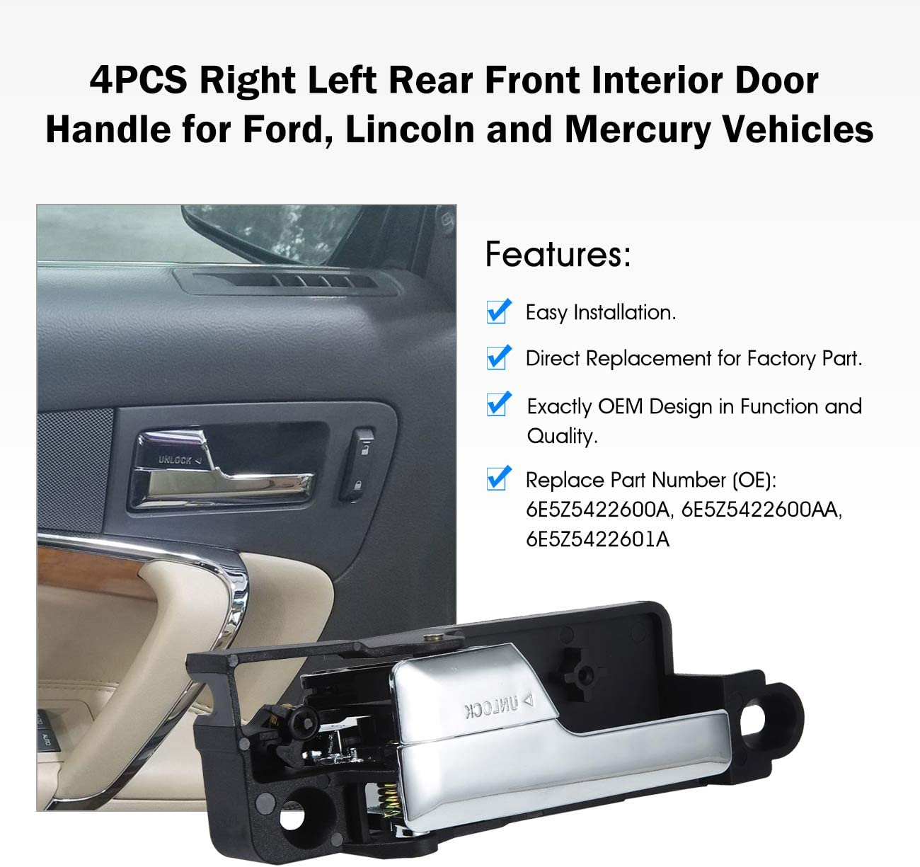 Partol 4PCS Inner Door Handle for 06-12 Ford Fusion 06-11 Mercury Milan 06 Lincoln Zephyr 07-12 MKZ Chrome Car Lever Interior Door Handle Complete Front+Rear Passenger+Driver Side