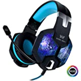 Stereo Gaming Headset with Mic for PC PS4 Xbox One Nintendo Switch,Lightweight Over Ear Headphones 3.5mm Jack for Laptop Mac,USB RGB LED Light & Noise Cancelling Mic Mute & Volume Control