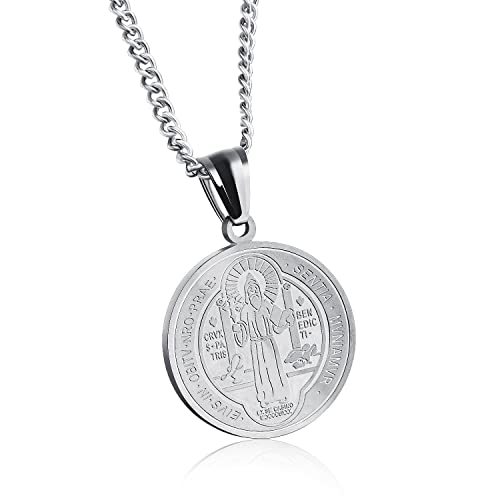 83a16824428 Feilaiger San Benito - Saint Benedict Exorcism Medal Catholic Cross Protection  Gold Plated Solid Stainless Steel