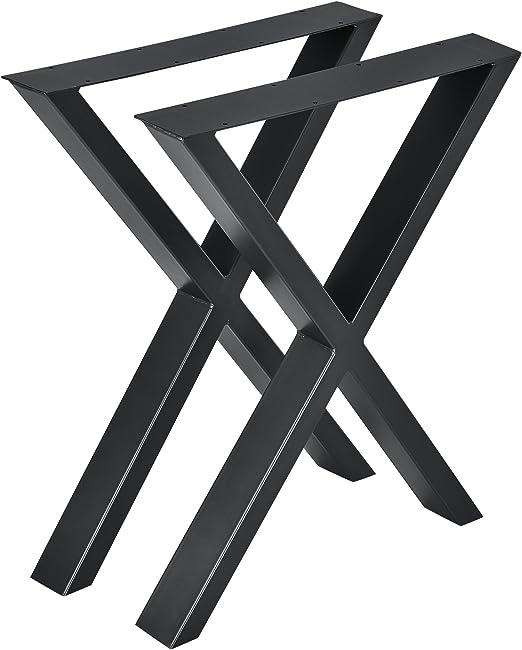 en.casa] Conjunto de Patas de Mesa - Set de 2X Patas de Mesa - Negro - 59 x 72 cm - Patas para Mesa en Forma de X: Amazon.es: Hogar