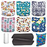 Lilbit Halloween Skull 6 Pcs Bamboo Charcoal Inserts and 6 Pcs Baby Cloth Diaper Covers