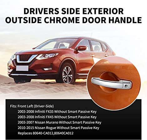 for Acura Outside Exterior Outer Door Handle Driver Side Front Left Chrome ABS
