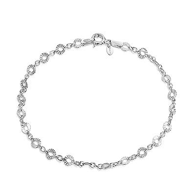 Bracelet chaîne argent avec des ronds-ovales légèrement bizetés