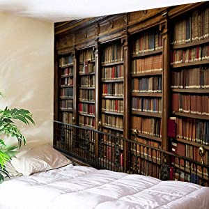 UHUSE Vintage Library Bookshelf Tapestry Wall Hanging College Study Room Tapestry Retro Bookshelf Wall Art Wall Tapestries for Bedroom Dorm Decor(51X59Inches)