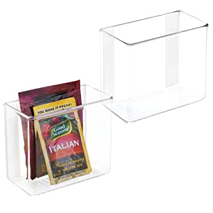 mDesign Plastic Adhesive Wall Mount Kitchen Pantry, Cabinet Storage Organizer for Food Pouches, Spice Packets, Recipes - 2 Pack - Clear