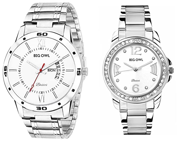 Analogue Multicolour Dial Men's and Women's Couple Wrist Watch - Combo of 2