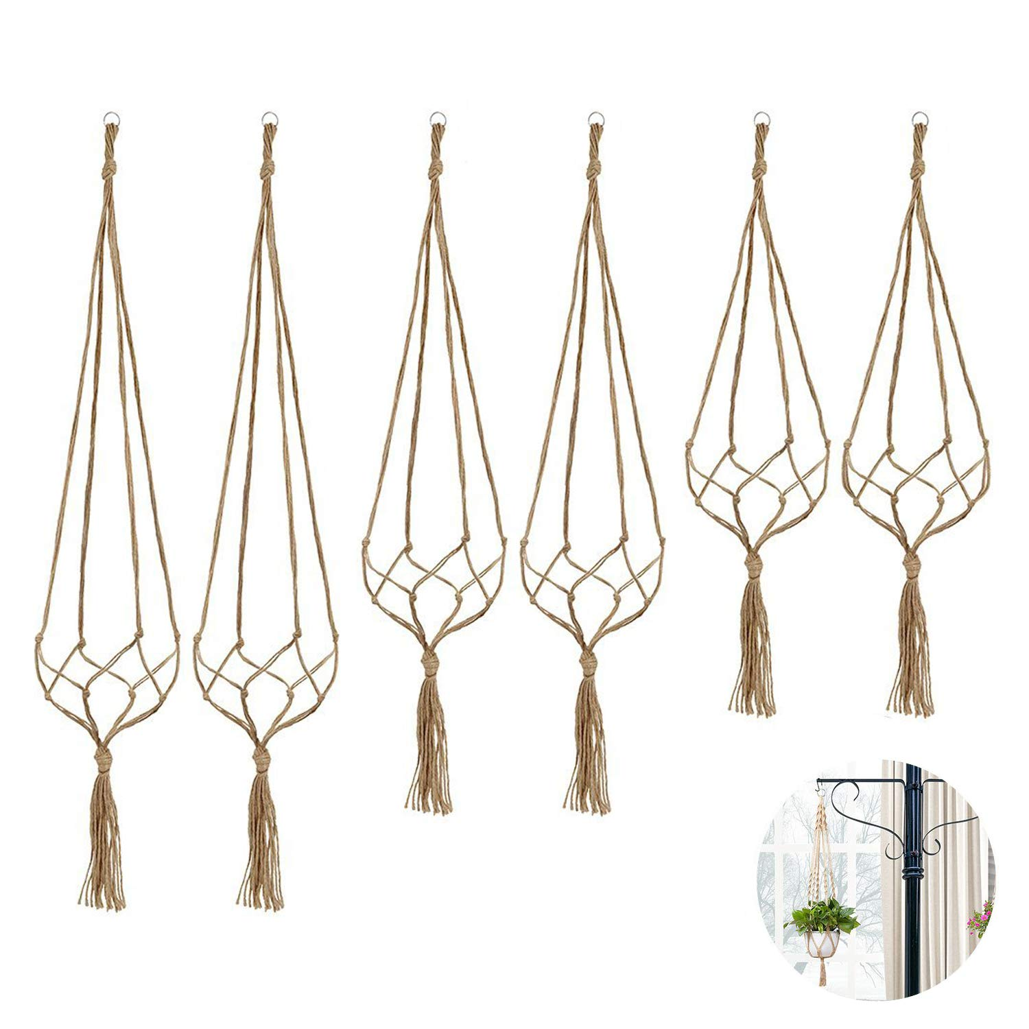 6 Pack Indoor Hanging Planter Holder, Plant Hanger, 3 Different Sizes (Each Size 2 Pack)