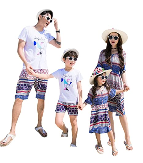 99aa43d7 Amazon.com: Elufly Summer Floral Family Matching Set Mom Day & Baby Dresses  Short Sleeve T-Shirt Pants Parent-Child Outfits (Dad A, M): Toys & Games