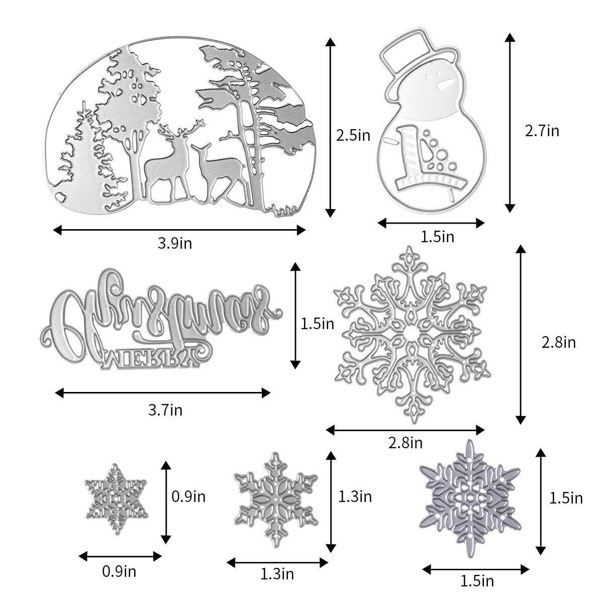 goffratura Fustelle in metallo a forma di fiocco di neve albero di Natale carta fotografica stencil per scrapbooking pupazzo di neve cervo confezione da 11
