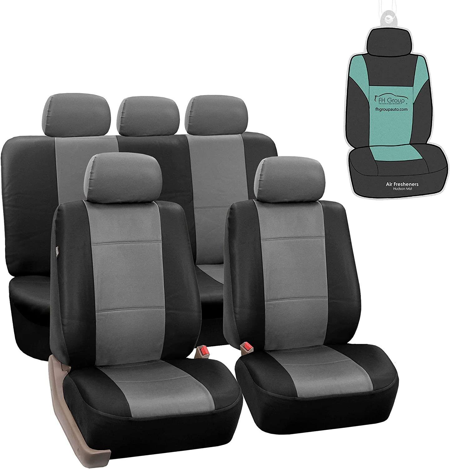 Fh Group Pu002115 Premium Pu Leather Seat Covers Gray Full Set With Gift Universal Fit For Cars Trucks And Suvs Automotive Amazon Com