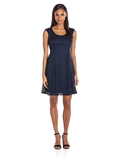 Ronni Nicole Women's Extended Cap Sleeve Fit N Flare Medallion Lace