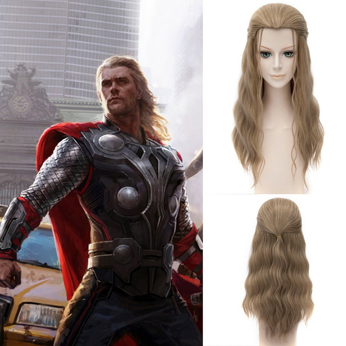 Men's Avengers Thor Costume Dark Blonde Long Length Costume Wig - DeluxeAdultCostumes.com