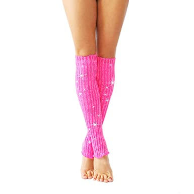 318f8c8666686 Wink Sparkly Stirrup Leg Warmers (neon pink/silver): Amazon.co.uk: Clothing