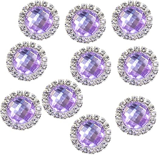 10 Acrylic Faux Crystal diamond buttons 25mm silver plated back Bling 1 inch